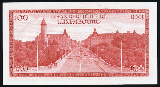 Luxembourg currency 100 Francs note bill banknote Adolphe Bridge