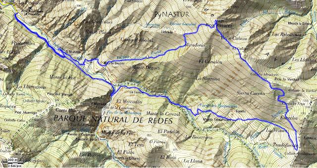 Mapa Topográfico Ruta Circular al Pico Vízcares