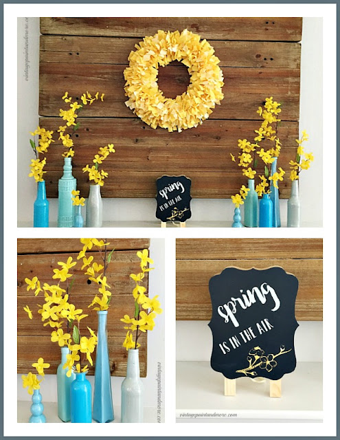 Vintage Paint and more... Spring mantel decor done with blue and yellow