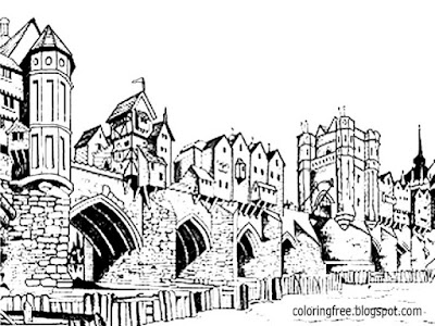 Water reed Straw roof medieval river side houses Dark Ages coloring pages for teenagers printable