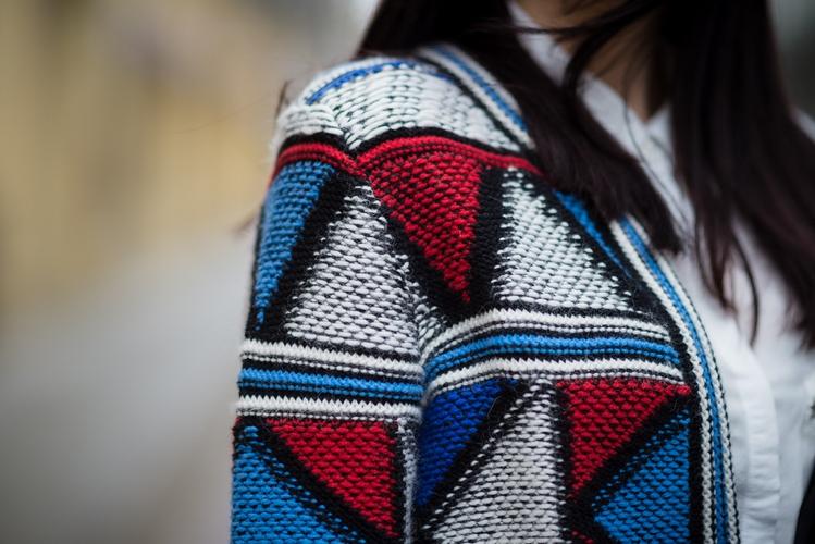 wełniany żakiet w geometryczne wzory | wełniany żakiet H&M | kolorowy wełniany żakiet | łódzka blogerka | geometryczny print | blog szafiarski | blog modowy
