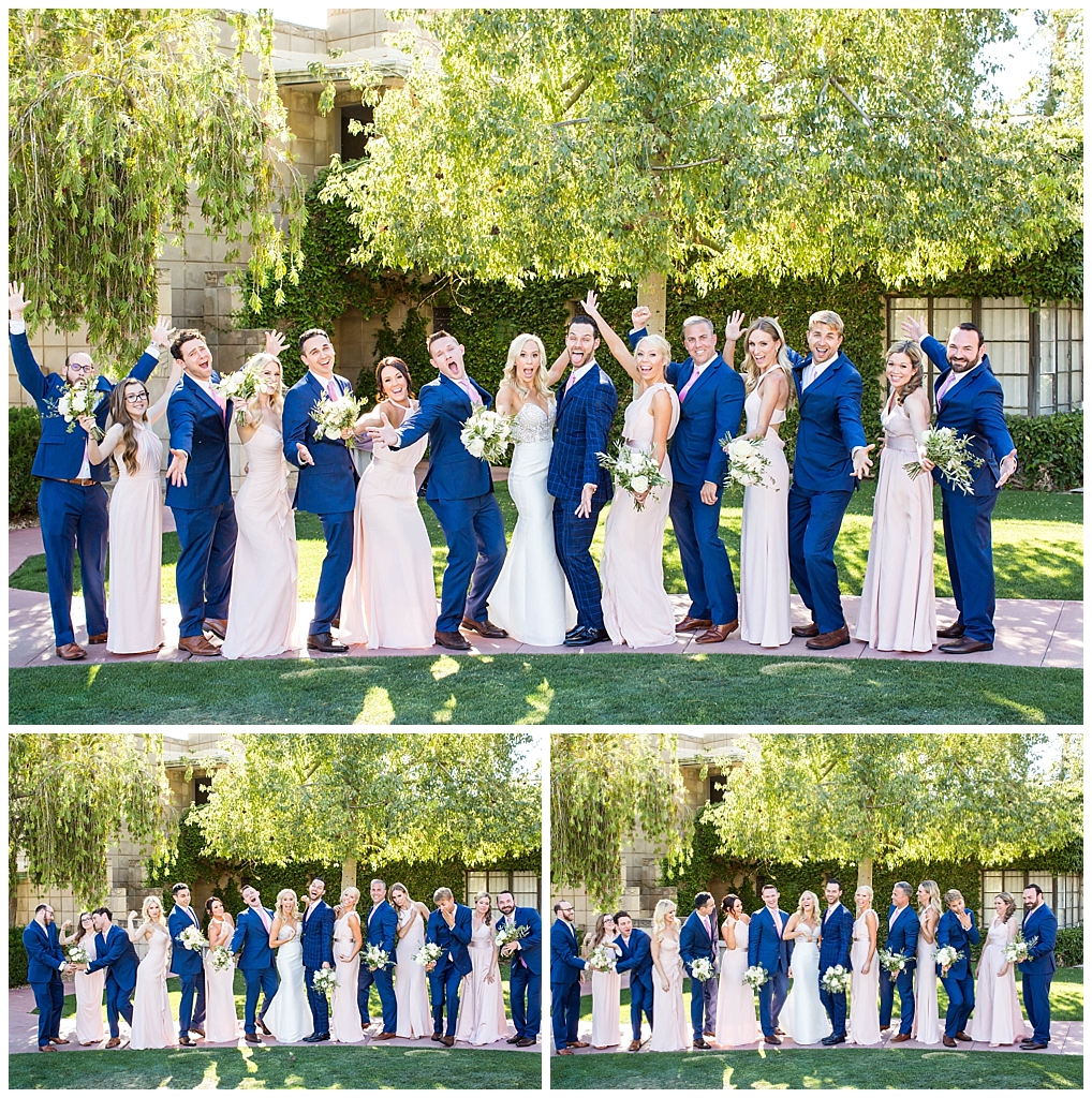 wedding party in navy and blush colors