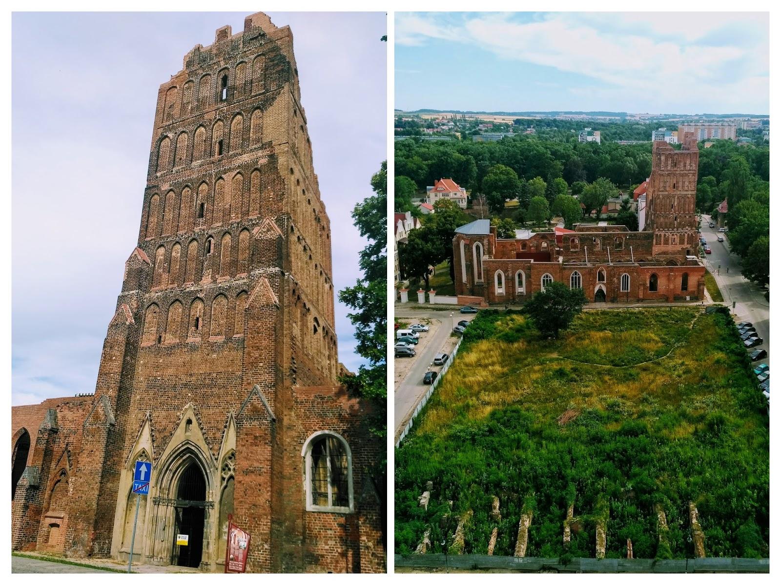 ruiny kościoła św. Mikołaja i pozostałości starego miasta w Głogowie - widok z wieży ratuszowej