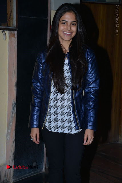 Actress Nanina Ganguly Stills in Black Tights with Vangaveeti Movie Team at Devi Theater  0004.JPG