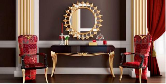ultra luxury dressing table design with golden mirror frame