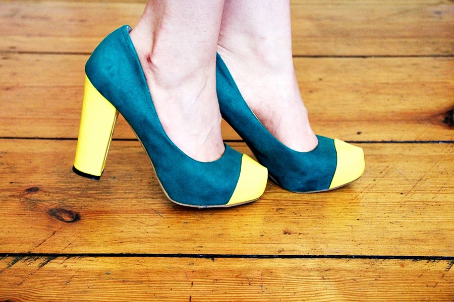 green yellow high heel