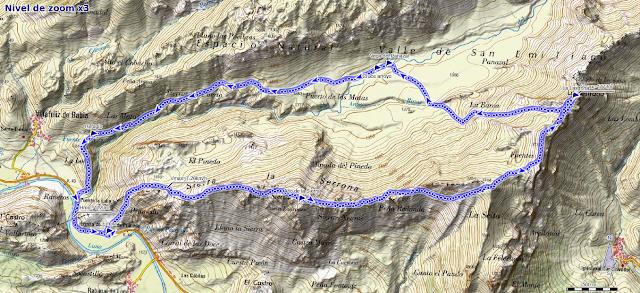 Mapa de la ruta circular por la Sierra de la Serrona