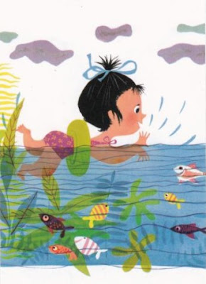ansichtkaart zwemmen