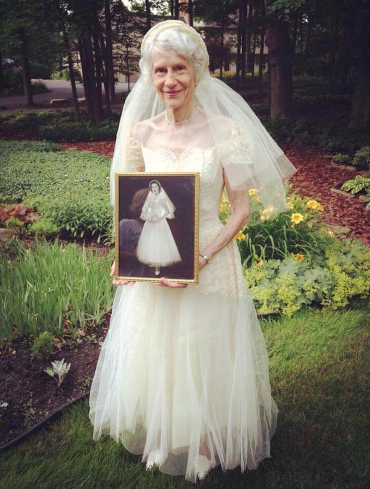 Adorable Grandma Puts Her Wedding Dress On After 63 Years