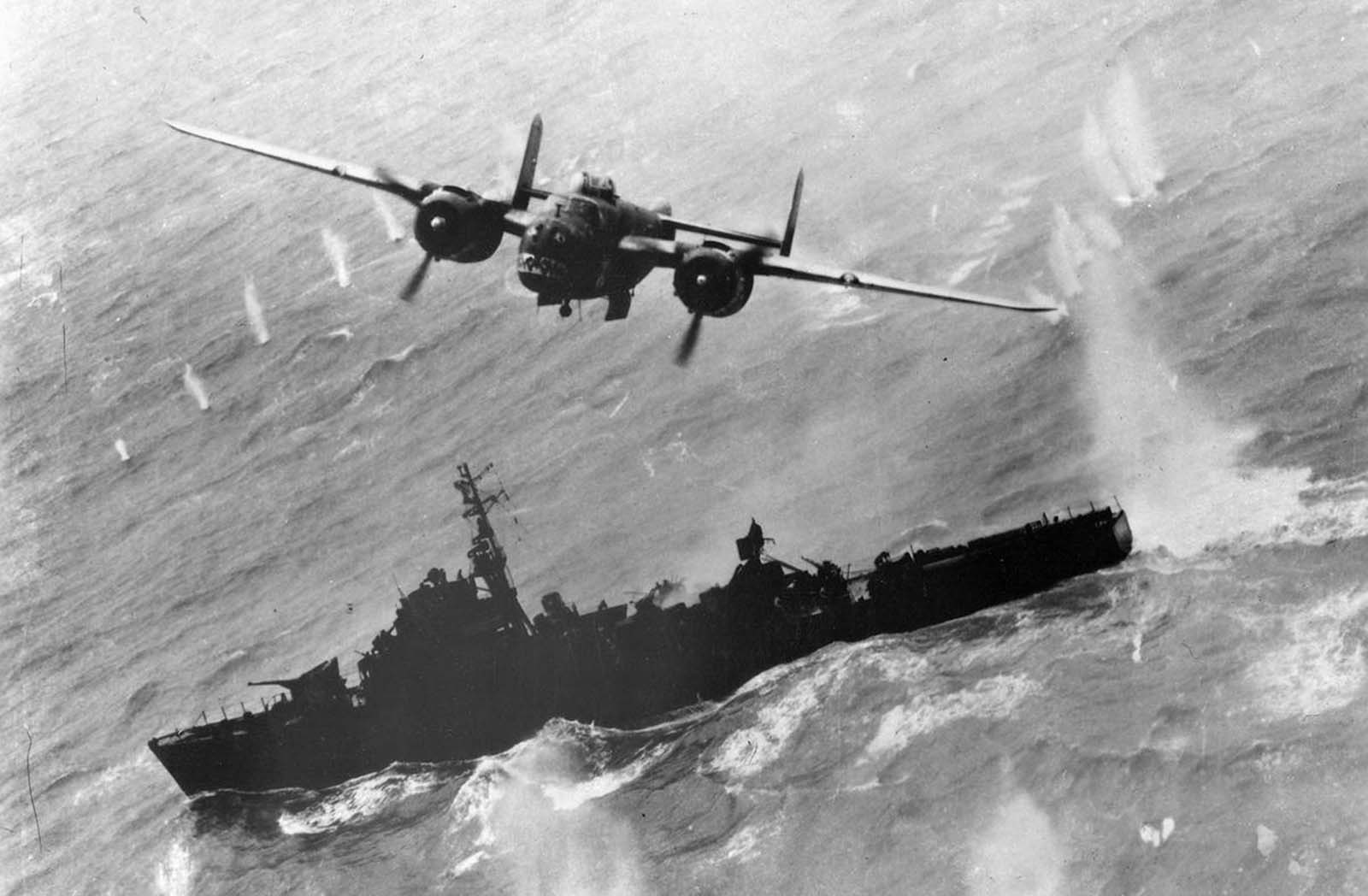 A North American B-25 makes a bomb run on a Japanese destroyer escort off Formosa in April of 1945.