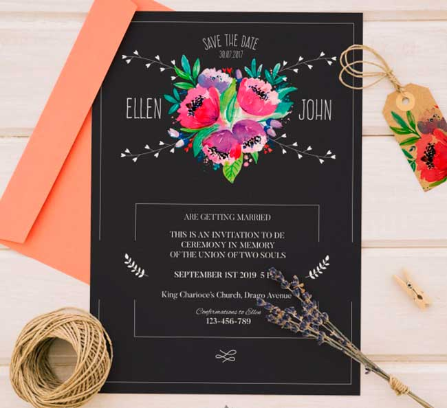Retro wedding invitation with flowers download