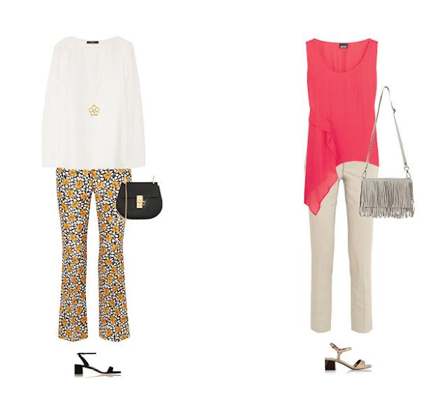 Желтые брюки с нейтральным топом и розовый топ с нейтральными брюками