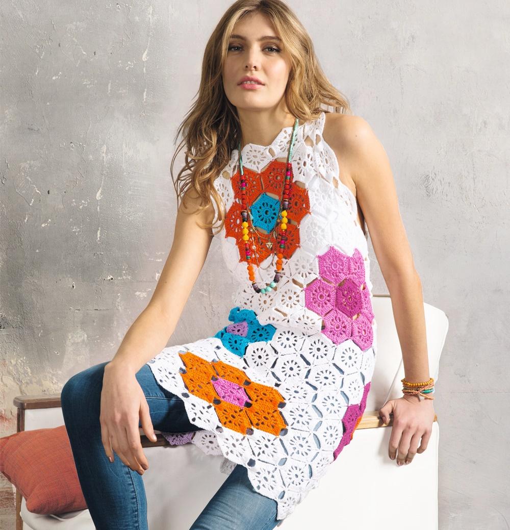 túnicas, mini-vestidos crochet, flores grannys patrones para crochet