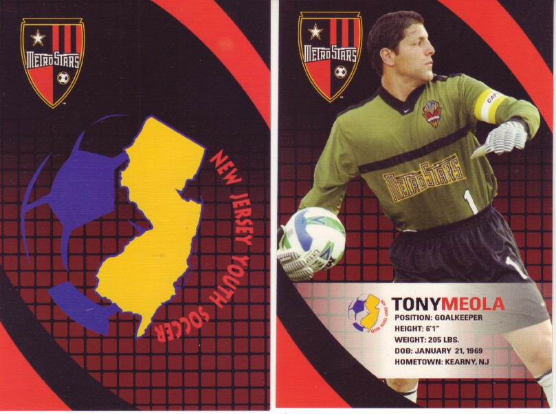ebe24211a32 Issued around 2003 by the New Jersey Youth Soccer Association, this 8-card  set features New Jersey born players who have worn the MetroStars jersey.