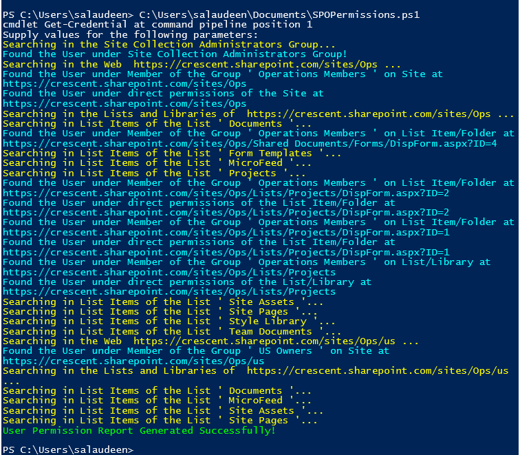 sharepoint online powershell check user permissions