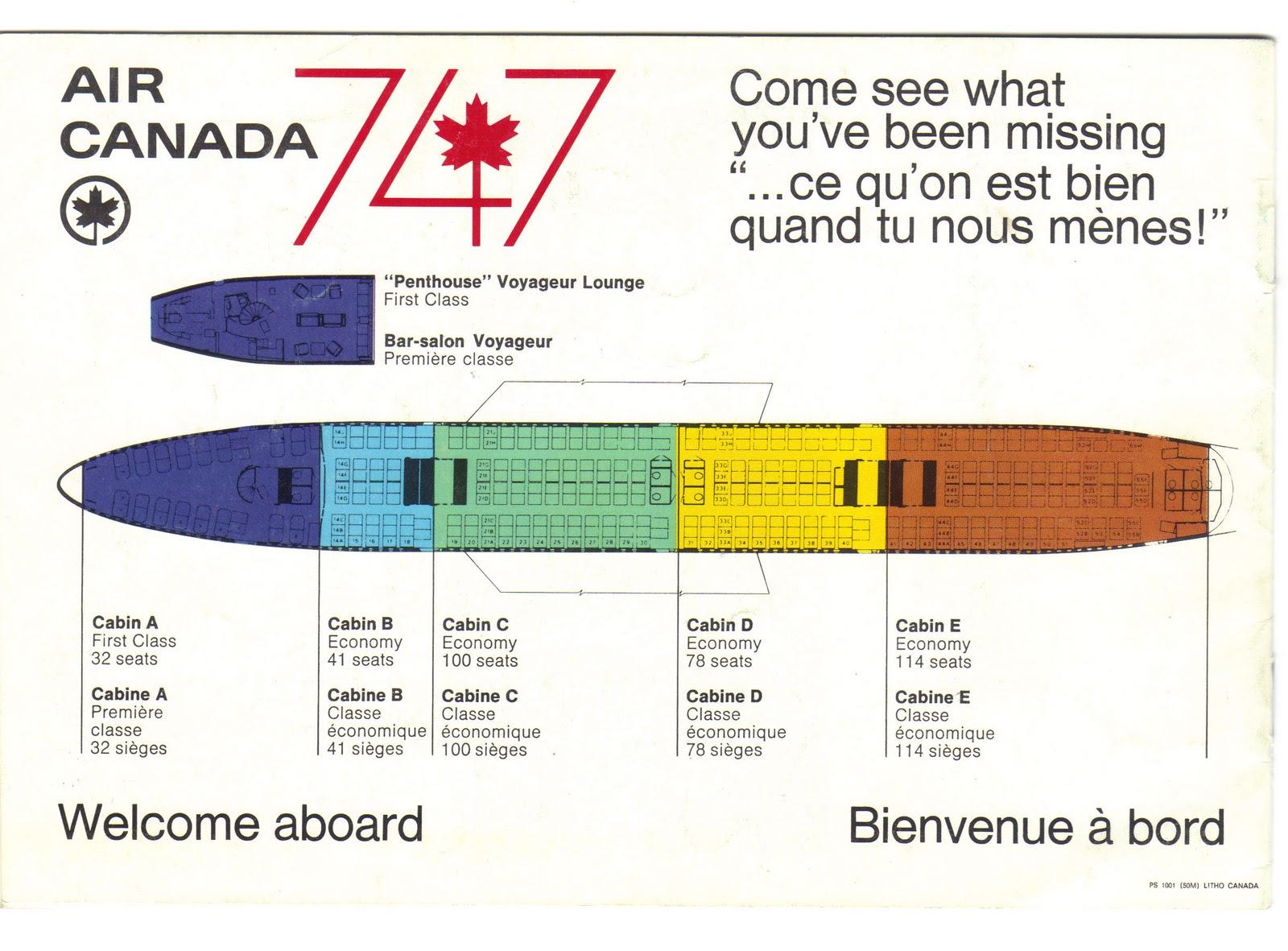 Air Canada 747 seat map Vintage Boeing 747 Pinterest