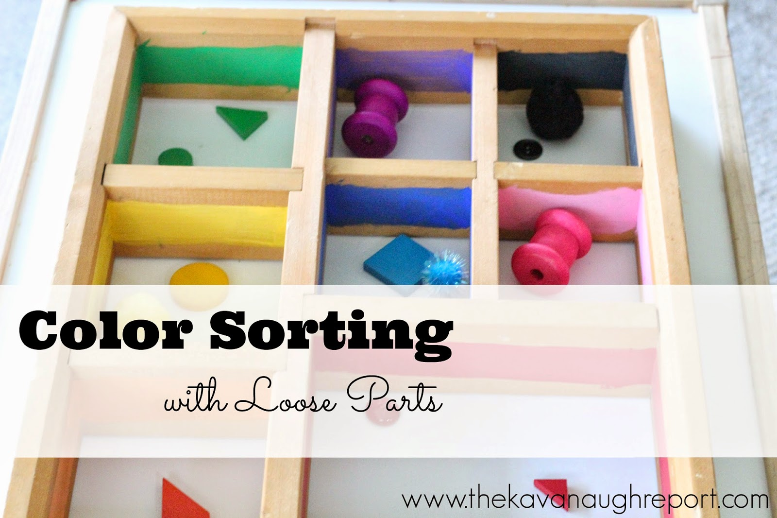 This Montessori inspired idea can help toddlers work on color sorting. Not only are toddlers attracted to the small objects but color sorting is a great way for toddlers to exercise order.