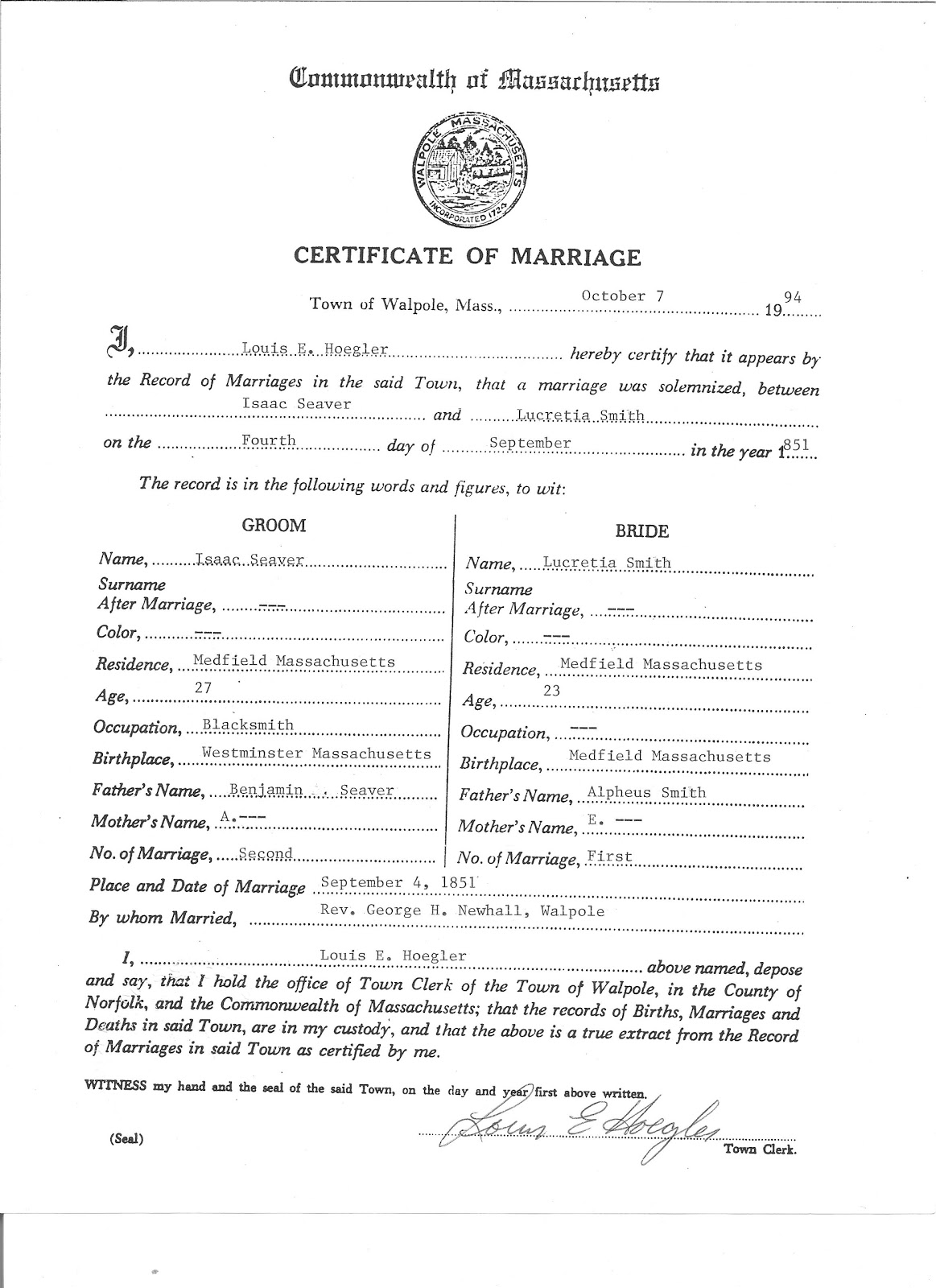 Genea musings treasure chest thursday isaac seaver lucretia i obtained this marriage certificate by postal mail from the walpole town clerks office on 7 october 1994 1betcityfo Gallery