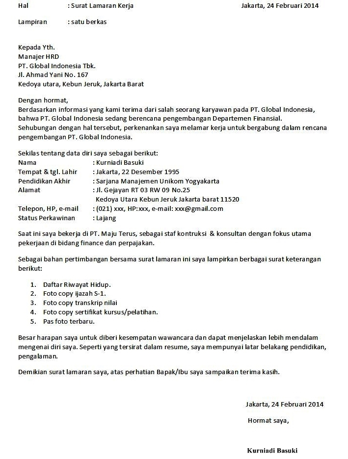 10 surat lamaran kerja resmi ben jobs