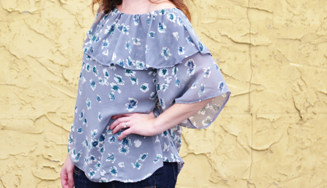 off the shouler ruffle blouse