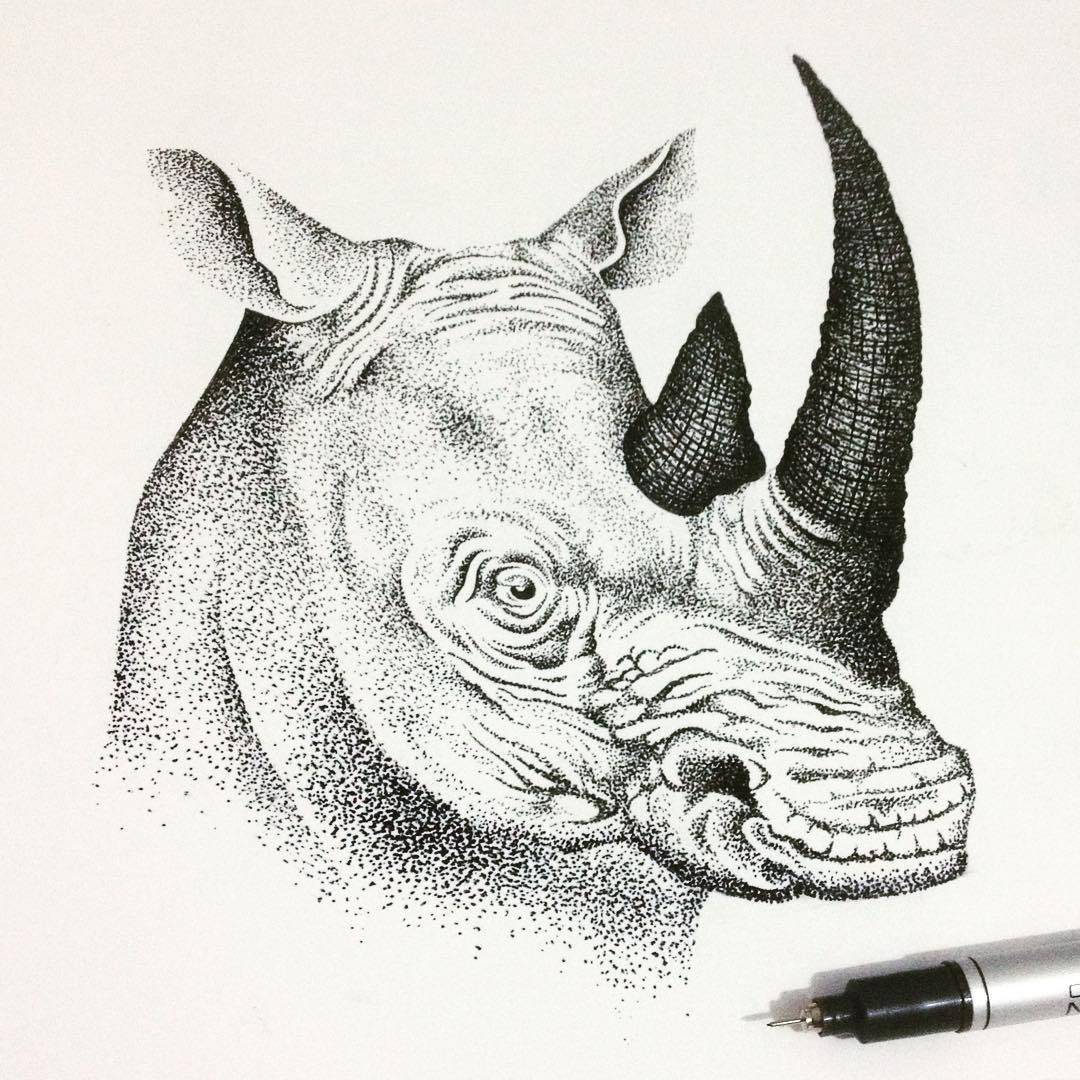 21-Rhino-Rhinoceros-Thiago-Bianchini-Eclectic-Collection-of-Drawings-and-Illustrations-www-designstack-co