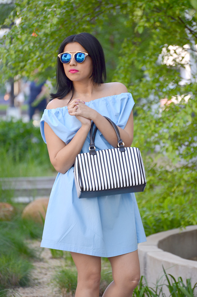 Summer Mood-MariEstilo-Off shoulder dress- outfit con zapatillas blancas-fashion blogger- ArmandHugon-Moda El Salvador- Memorial Weekend
