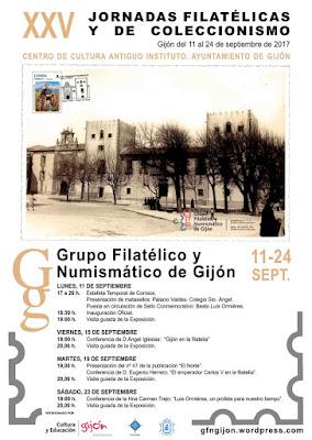 Cartel de las XXV Jornadas Filatélicas y de Coleccionismo de Gijón