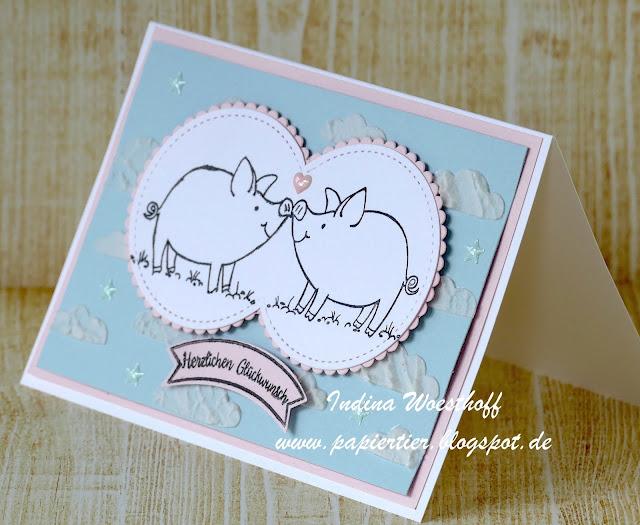 Glücksschweinchen | papiertier Indina | Stampin' Up! | This Little Piggy | Hochzeit | Wedding