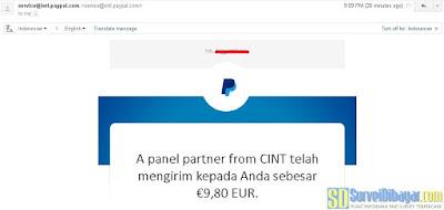 Notifikasi pengiriman saldo PayPal dari paid survey Quest MindShare | SurveiDibayar.com