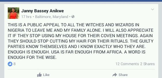 (MUST READ) NIGERIAN WOMAN LIVING IN US CRIES OUT - LEAVE ME ALONE, WITCHES & WIZARDS IN NIGERIA