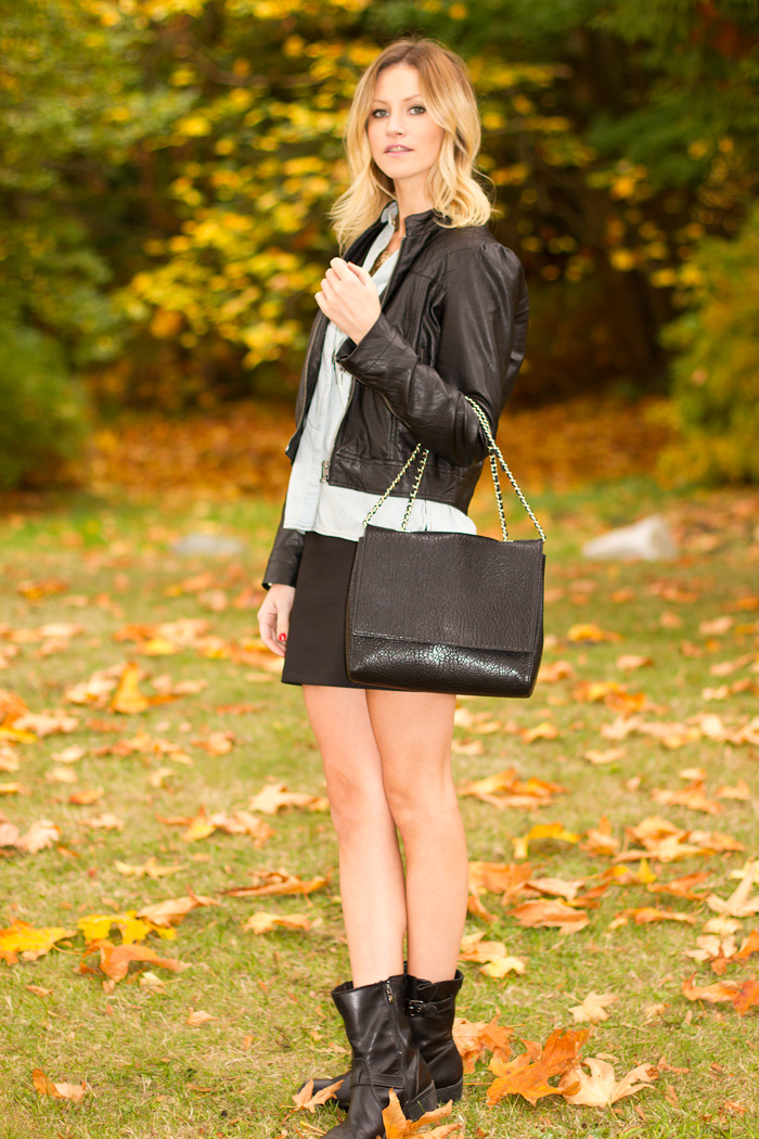 Vancouver Fashion Blogger, Alison Hutchinson, wearing Forever 21 black vegan leather jacket, chambray Urban Outfitters button-up top, Urban Outfitters black bodycon skirt, Anne Klein black moto boots, black leather Zara bag, Seduce neckalce and skull bead bracelets