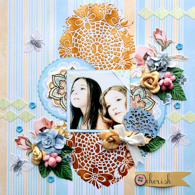 Pastel Mixed Media Layout with Stenciling and Large Die-Cuts