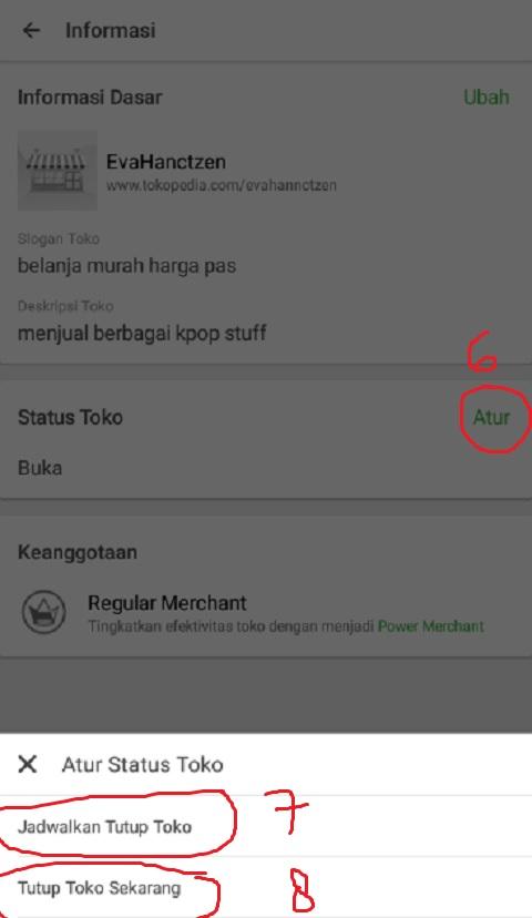 Klik Atur Status Toko di Tokopedia
