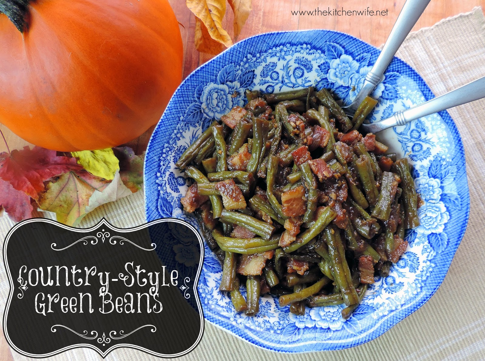 A bowl of the finished Country Style Green Beans.