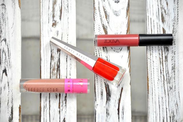 matowe pomadki jeffree star velour liquid lipstick, zoeva pure velour lips, fenty beauty stunna lip paint longwear fluid lip color