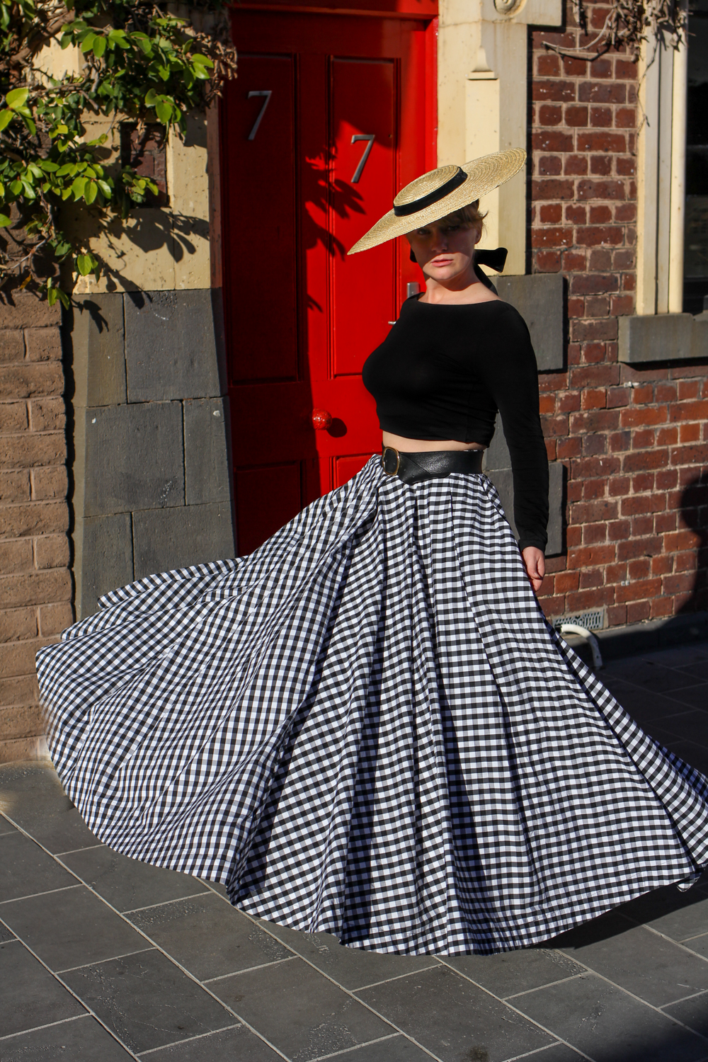 Liana of @findingfemme at Geelong Cellar Door in Fame and Partners Gingham skirt