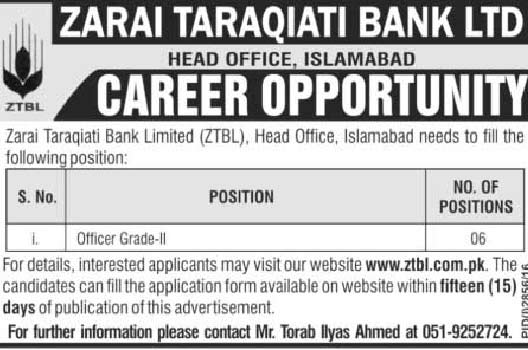 Jobs in Zarai Taraqiati Bank Limited Islamabad