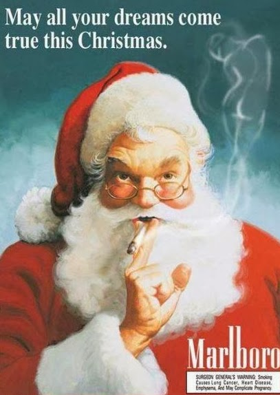 Papai Noel fumante. Propaganda da Marlboro no anos 50.