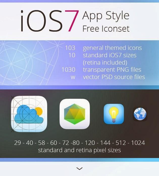 Tasarımcılar için Ücretsiz IOS7 İkon Seti (Free iconset)