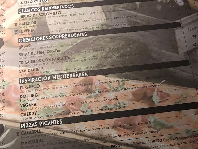 Carta restaurante Kilómetros de Pizza