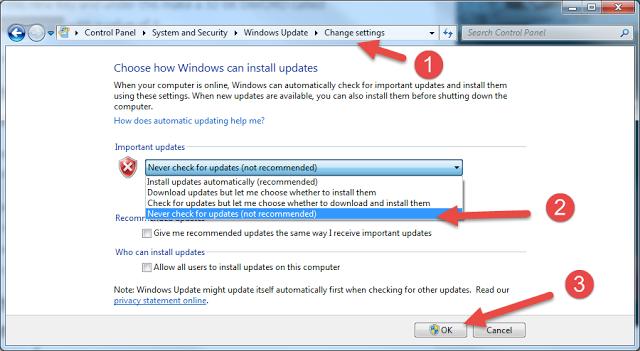 كيفية ايقاف التحميل الإجباري للملفات ويندوز 10 الى نظامك (Windows 7 /  8.1)