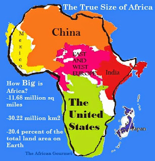 Mexico, China, Eastern and Western Europe, India, the USA and Japan can all fit into Africa's total land area very comfortably.