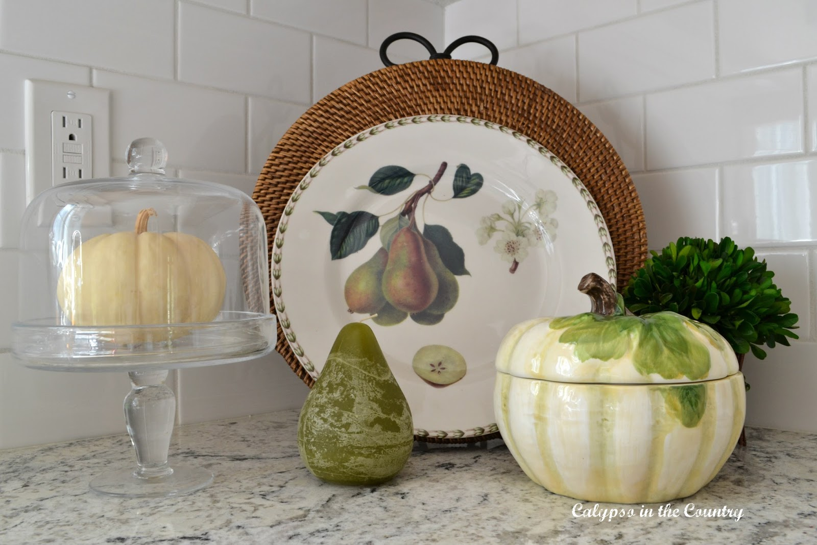 White Pumpkin Pear Vignette - fall decor in the kitchen