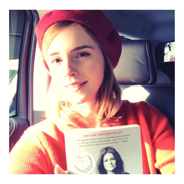 Emma-Watson-read-red-striking-ninja-book-fairy-on-international-woman's-day