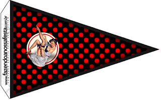 Pin Up in Black with Red Polka Dots Food Toppers or Flags.