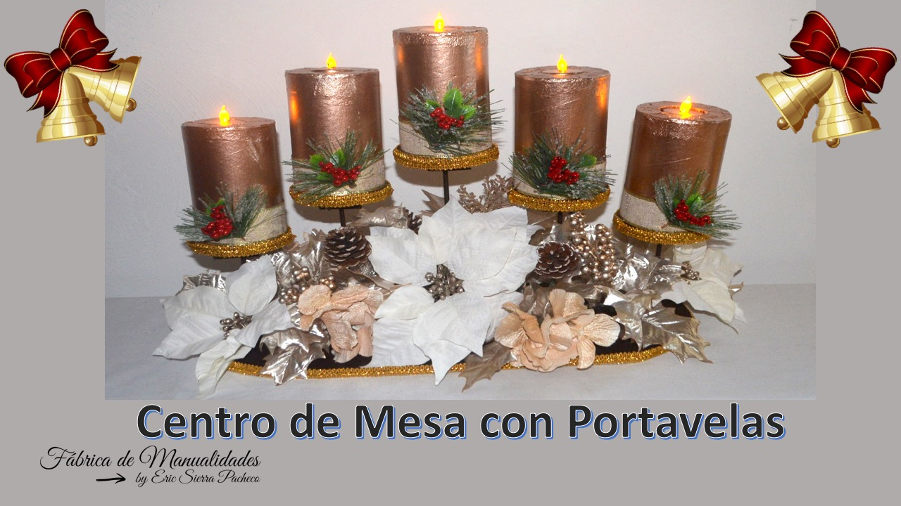 F brica de manualidades centro de mesa navide o con - Centros de mesa navidenos manualidades ...