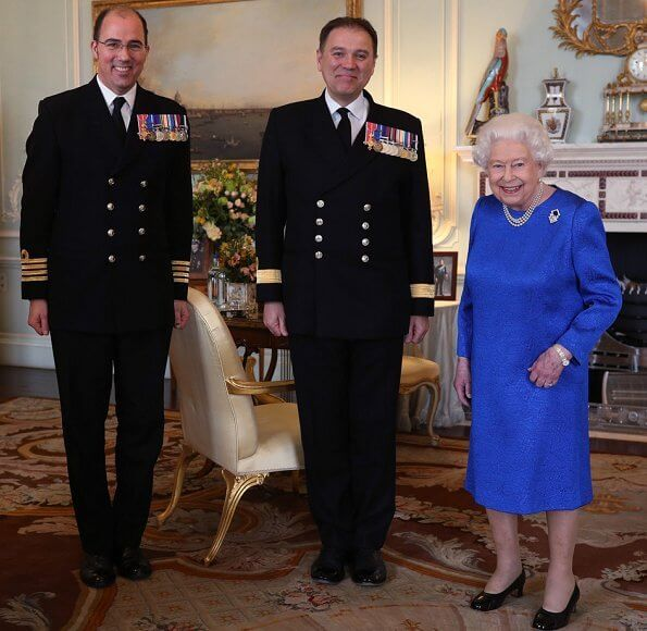 Queen Elizabeth II received the outgoing and incoming Commanding Officers of HMS Queen Elizabeth
