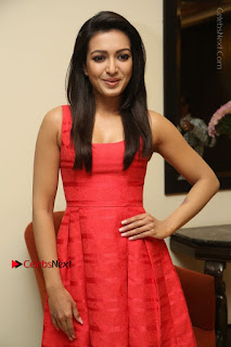 Actress Catherine Tresa Latest Pos in Red Short Dress at Intex Air Conditioners Launch  0018.jpg