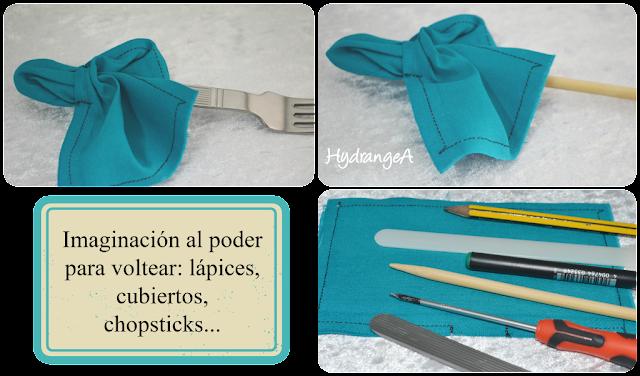 Voltear una pieza de tela con utensilios varios: lápices, palillos...