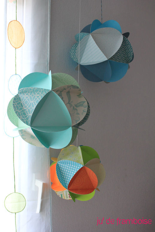 tuto un mobile de globes de papier ju2framboise. Black Bedroom Furniture Sets. Home Design Ideas
